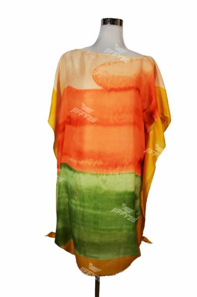Ladies Orange and Green Printed Cotton Kaftan