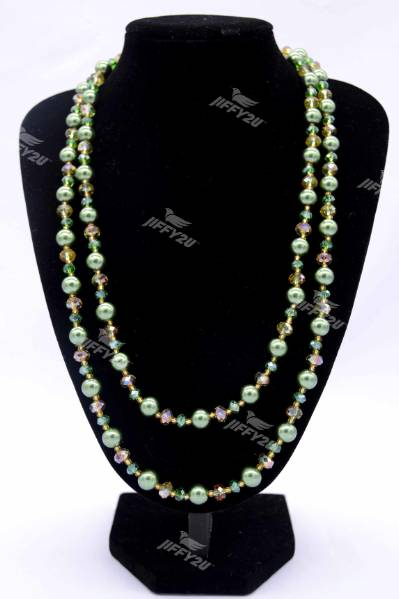 Handmade Designer Vintage Long-length Handmade Green Crystals/Pearl and Yellow Beads Necklace with Set Earrings