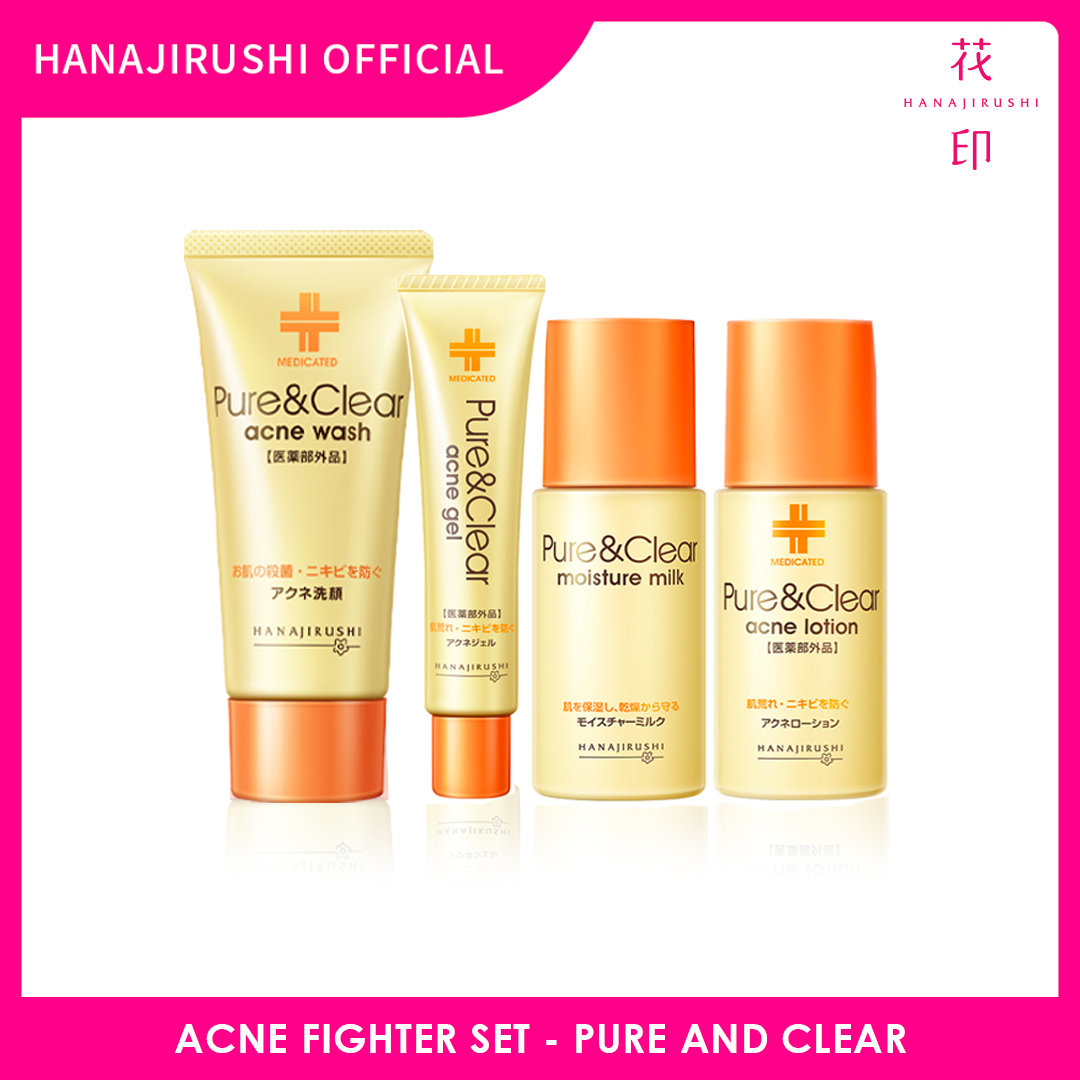 Hanajirushi Acne Fighter Set - Pure & Clear Acne Series Set 4 in 1