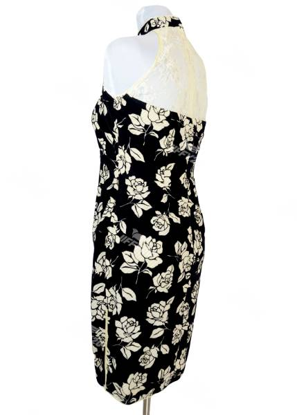 Midnight Black Sleeveless Floral Mini Cheongsam with Lace