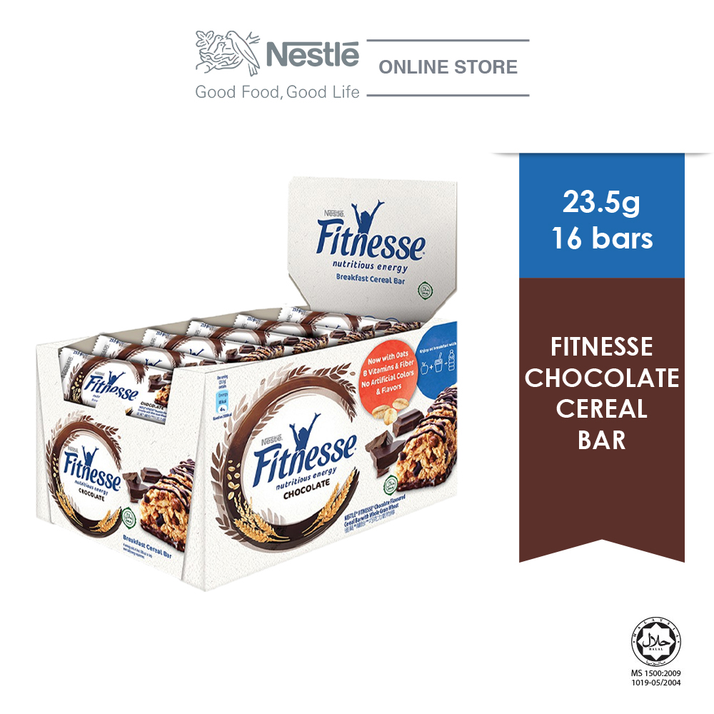 NESTLE Chocolate Fitnesse Breakfast Cereal Bar, 16 Bars, 23.5g Each