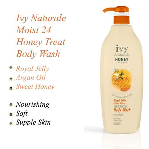 Ivy Naturale Moist 24 Honey Treat Nourishing Body Wash With Royal Jelly, Sweet Honey & Argan Oil (1000ml)