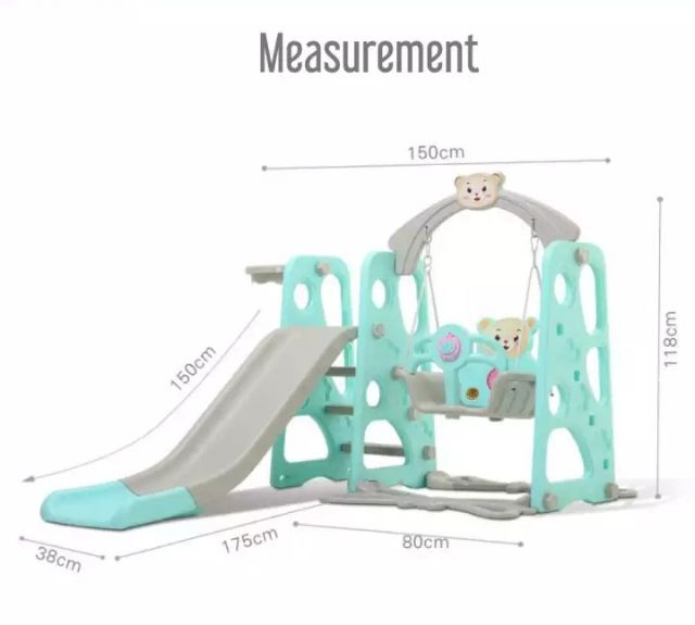 4 in 1 Swing Children Kid Slide with Basketball Net Indoor Outdoor Mini Playground Pink with Music