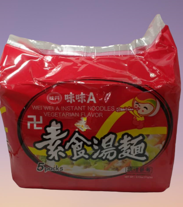 Wei Wei A Vegetable Instant Noodles 味味A素食汤面 (5 packs x 77g)