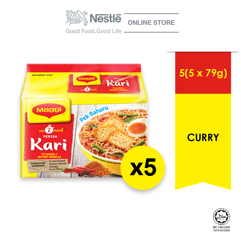 MAGGI 2-MINN Curry 5 Packs 79g, Bundle of 5