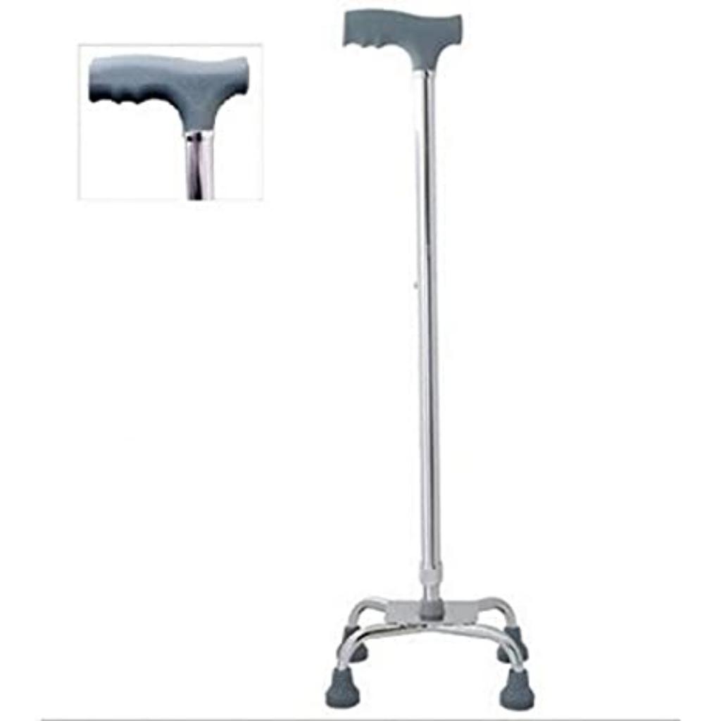 Stainless Steel Four Leg Walking Stick Tongkat Silver