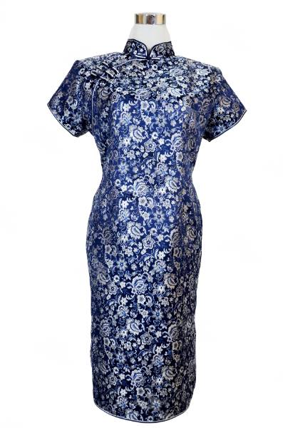 Navy Blue and Silver Floral Brocade Designer MIni Dress Cheongsam