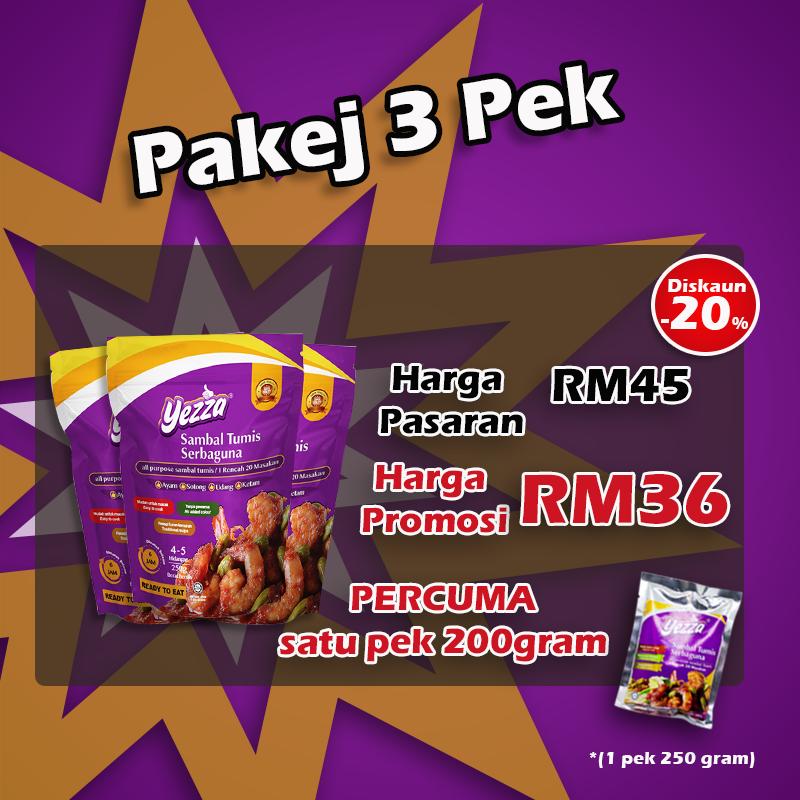 Sambal Tumis Serbaguna YEZZA/ All-purpose Sambal 3 Pack Pakej