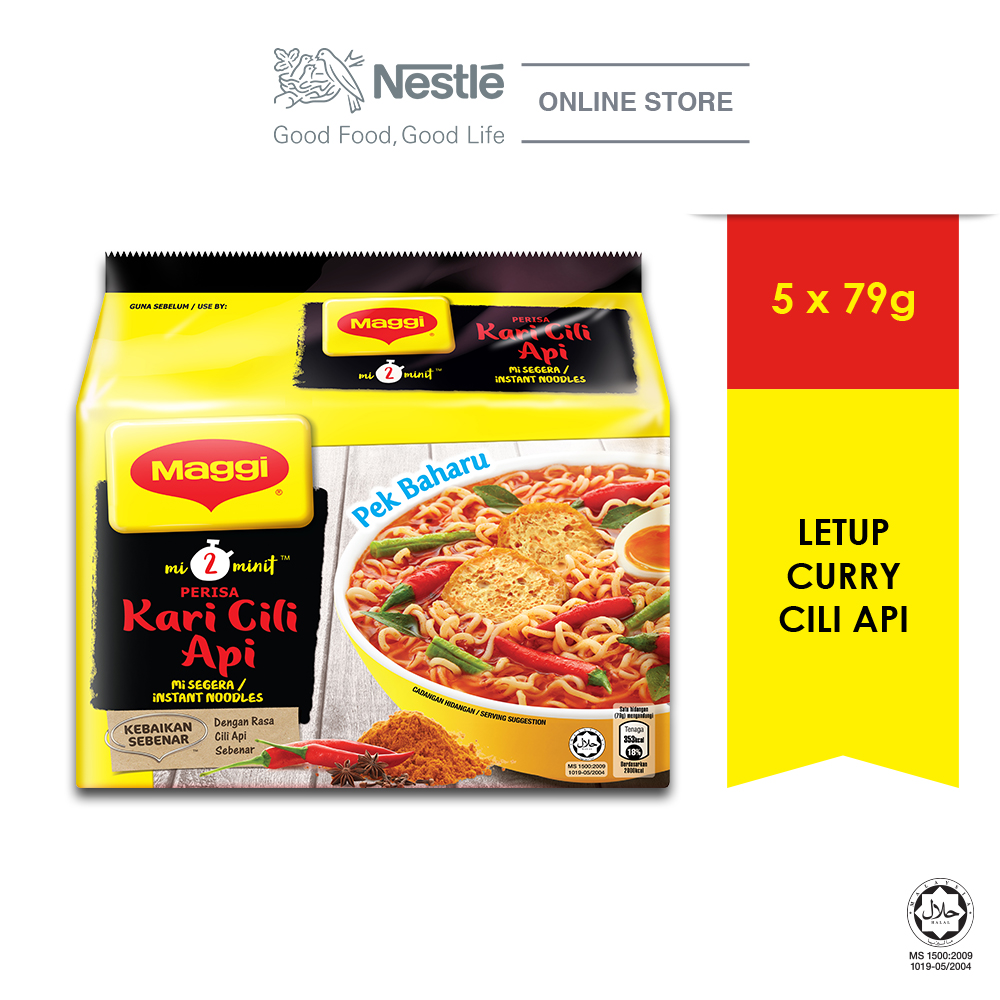 MAGGI 2-MINN Letup Curry Cili Api 5 Packs, 110g Each EXP DATE: DEC 20