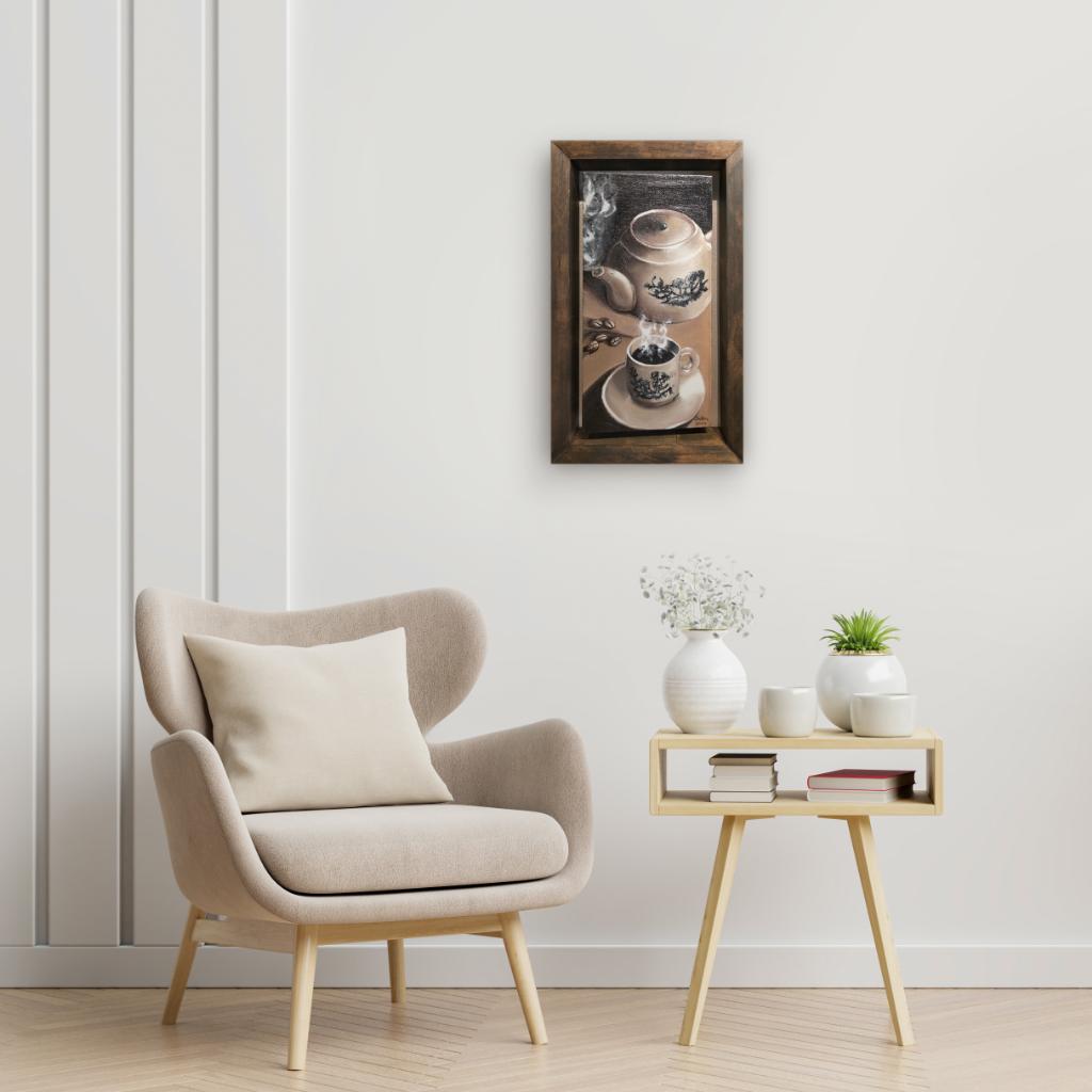 Kopitiam Oil Painting By Chen Sheldon 15.20 cm x 30.50 cm 茶餐室壶油画 陈世俊/绘
