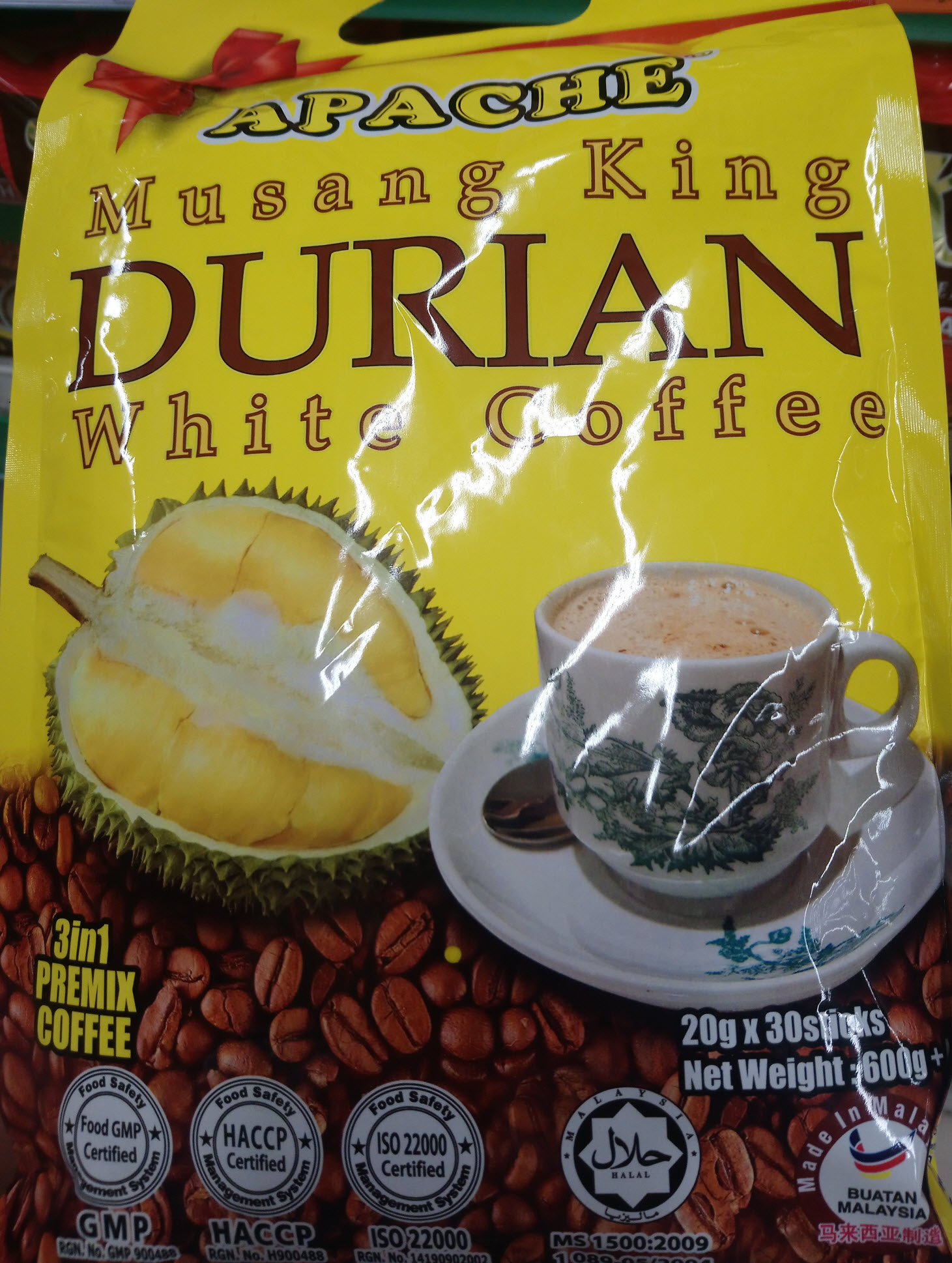 Apache Musang King Durian White Coffee 3 in 1 Premix (20g x 30 sticks)