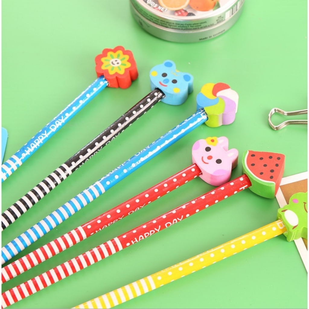 HB Writing Wooden Pencil Cute Cartoon Eraser Rubber Birthday Party Gift