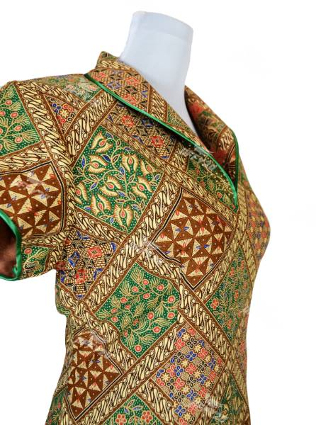 Modern Style Batik Mini Cheongsam Brown and Emerald Green with Ethnic Print in Princess Collar Design