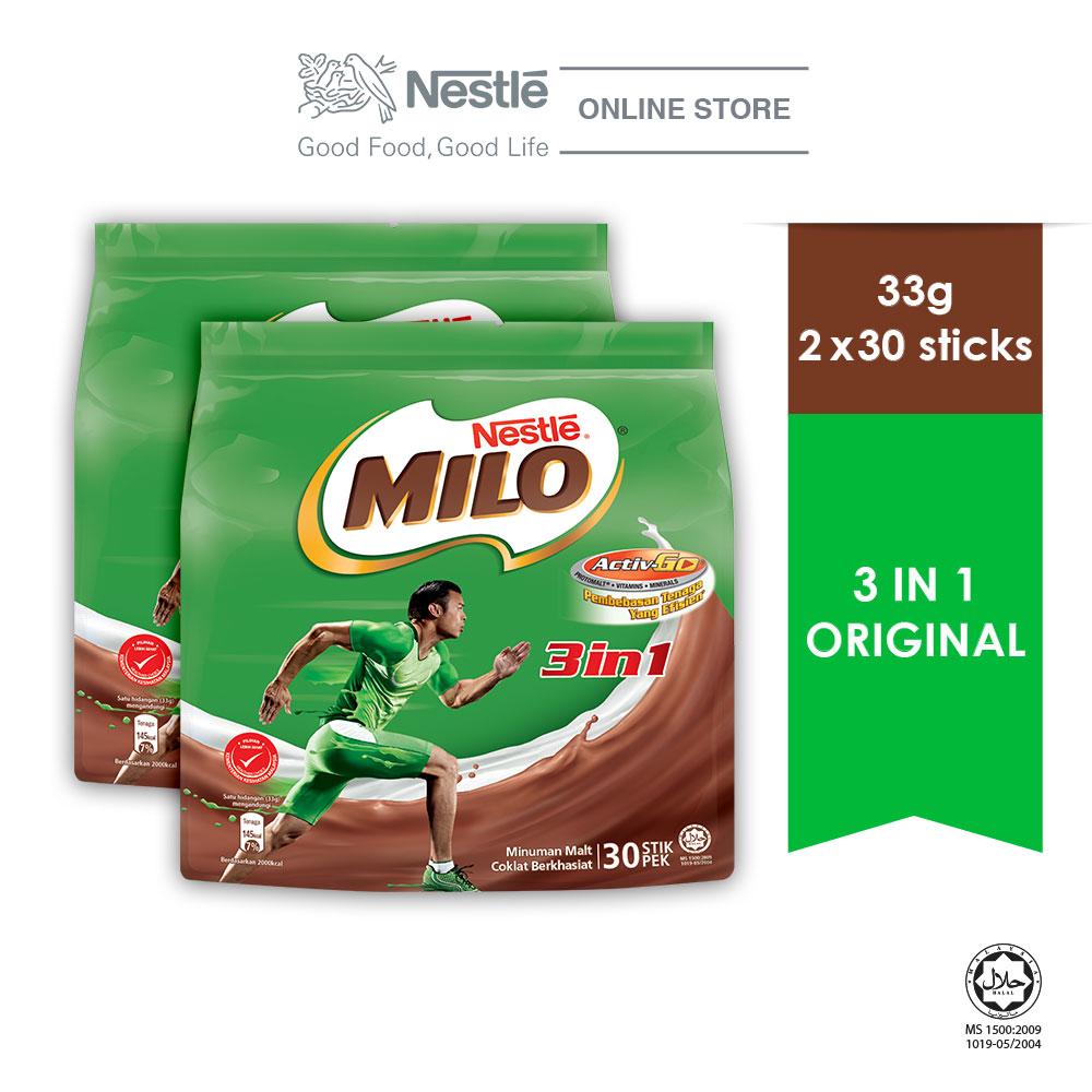 NESTLE MILO 3IN1 ACTIV-GO (30 Sticks 33g x 2 packs)