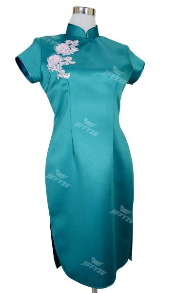 Teal Designer Cheongsam with Floral Patchwork and Beads