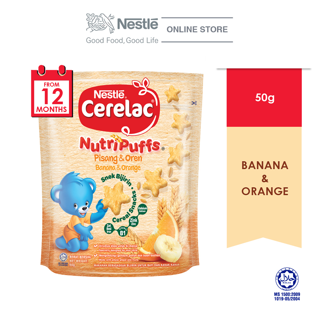 NESTLE CERELAC NUTRIPUFF Banana & Orange Cereal Snack Pouch 50g