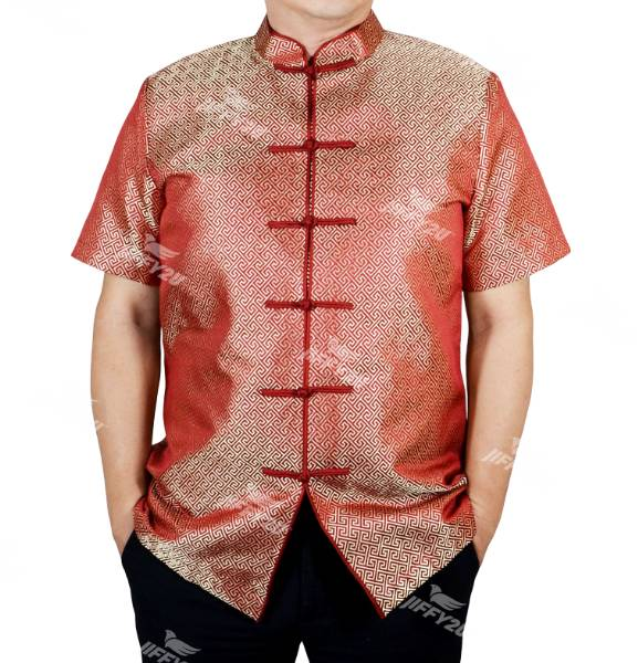 Fire Brick Red Designer Brocade Samfu