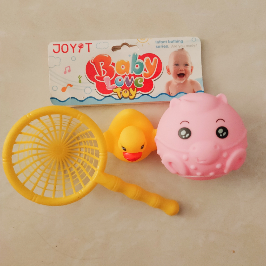 Bath Time Squeaker Baby Kid Toy Basket Net with Sound Effect