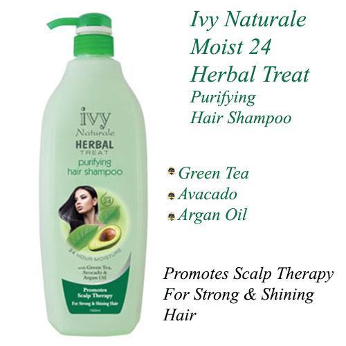 Ivy Naturale Moist 24 Herbal Treat Purifying Hair Shampoo With Green Tea, Avocado & Argan Oil (1000ml)