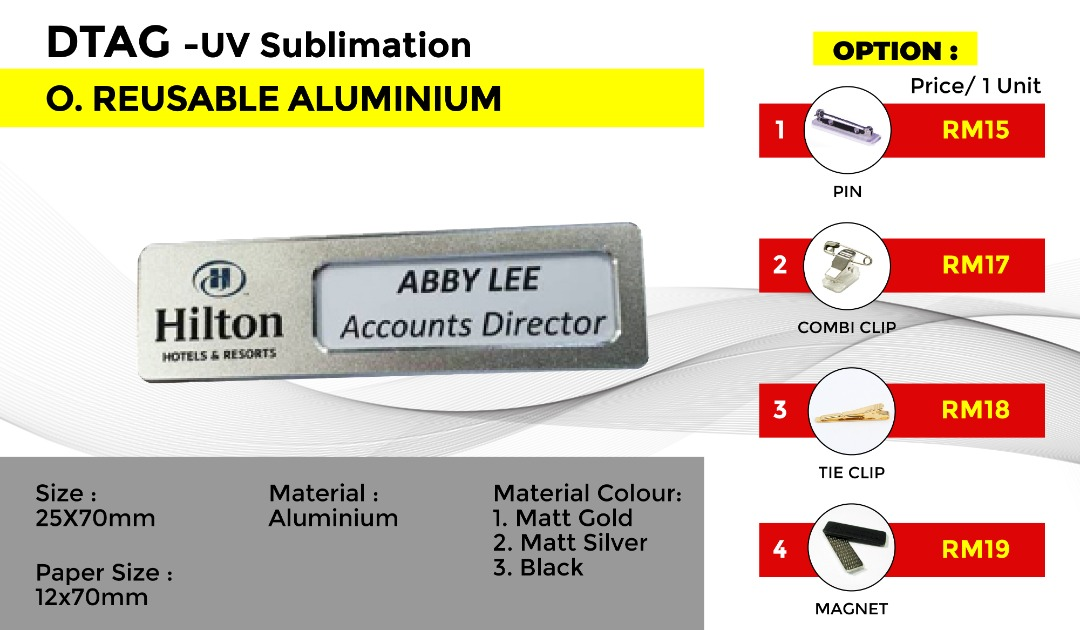 DTAG - UV Sublimation O.REUSEABLE ALUMINIUM