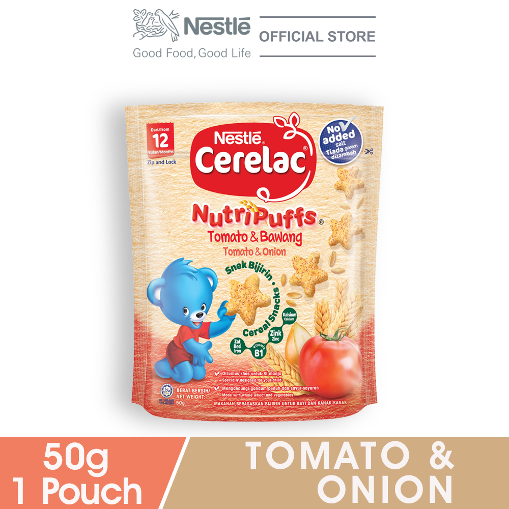 NESTLE CERELAC NUTRIPUFF Tomato & Onion Cereal Snack Pouch 50g