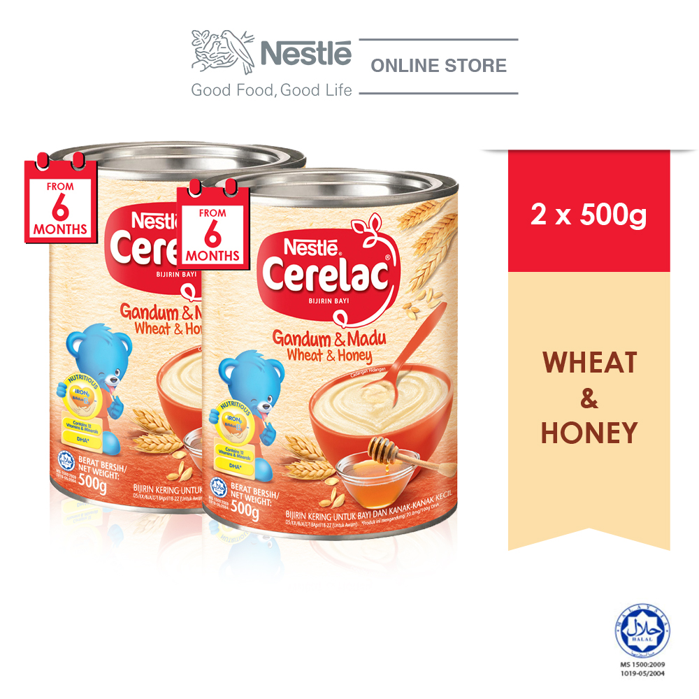 NESTLE CERELAC Wheat Honey Infant Cereal Tin 500g x2 tins