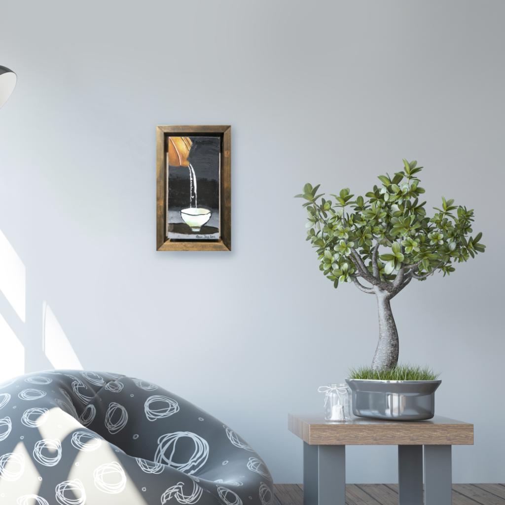 Pouring Tea Oil Painting By Gam Jing Lou 15.20 cm x 30.50 cm 倒茶油画 颜静茹/绘