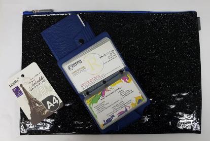 A4 Fashion Zip Case Foc Button Multipurpose Card Holder