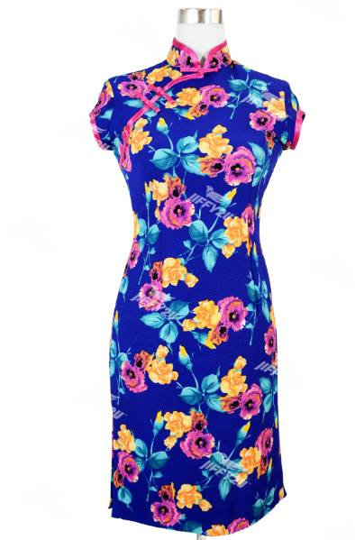 Royal Azure Blue with Fuschia Pink and Orange Floral Fabric Designer Cheongsam