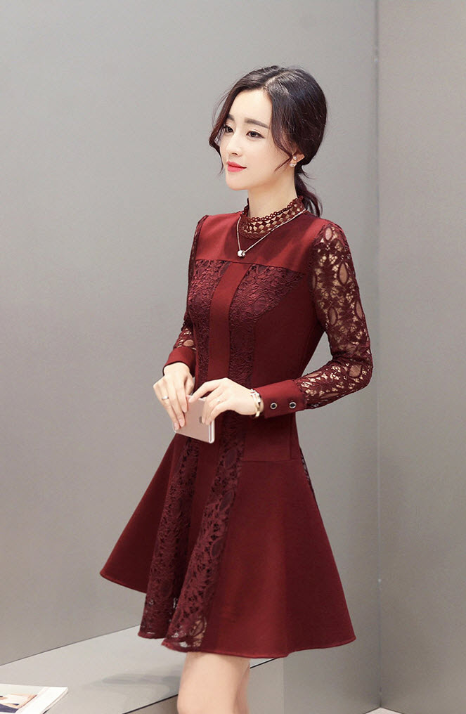 Women Lace Midi Dresses Korean Style Party Dress O-Neck Long Sleeve Dress Red