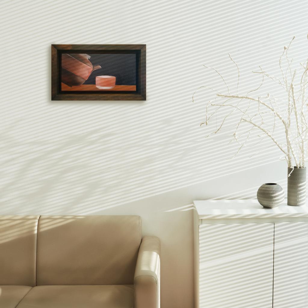 Zisha Pot Oil Painting By Lee Jing Yi 30.50 cm x 15.20 cm 紫砂壶油画 李婧怡/绘