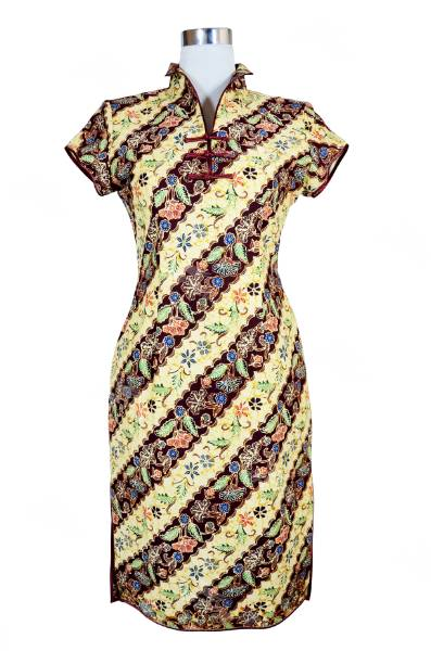 Modern Style Batik Mini Cheongsam in yellow and maroon stripe with princess collar