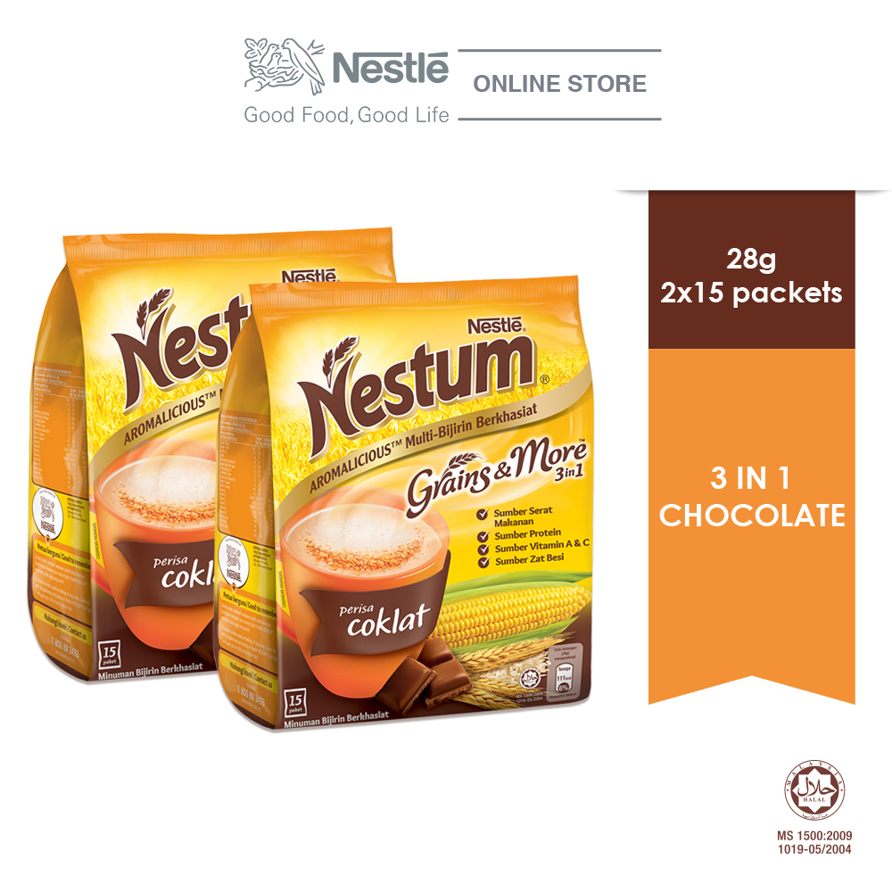 NESTLE NESTUM Grains & More 3in1 Chocolate 15 Packets 28g x2 packs
