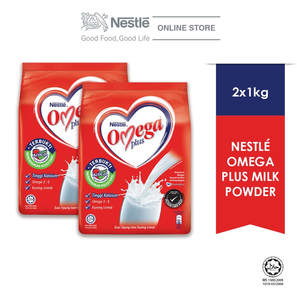 NESTLE OMEGA PLUS Milk Powder Soft Pack (1kg x 2 packs)