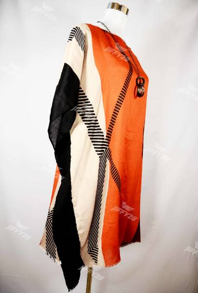 Ladies Orange and Black Printed Cotton Kaftan