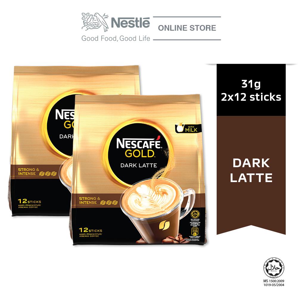 Nescafe Gold Dark Latte 12 Sticks, 31g Bundle of 2