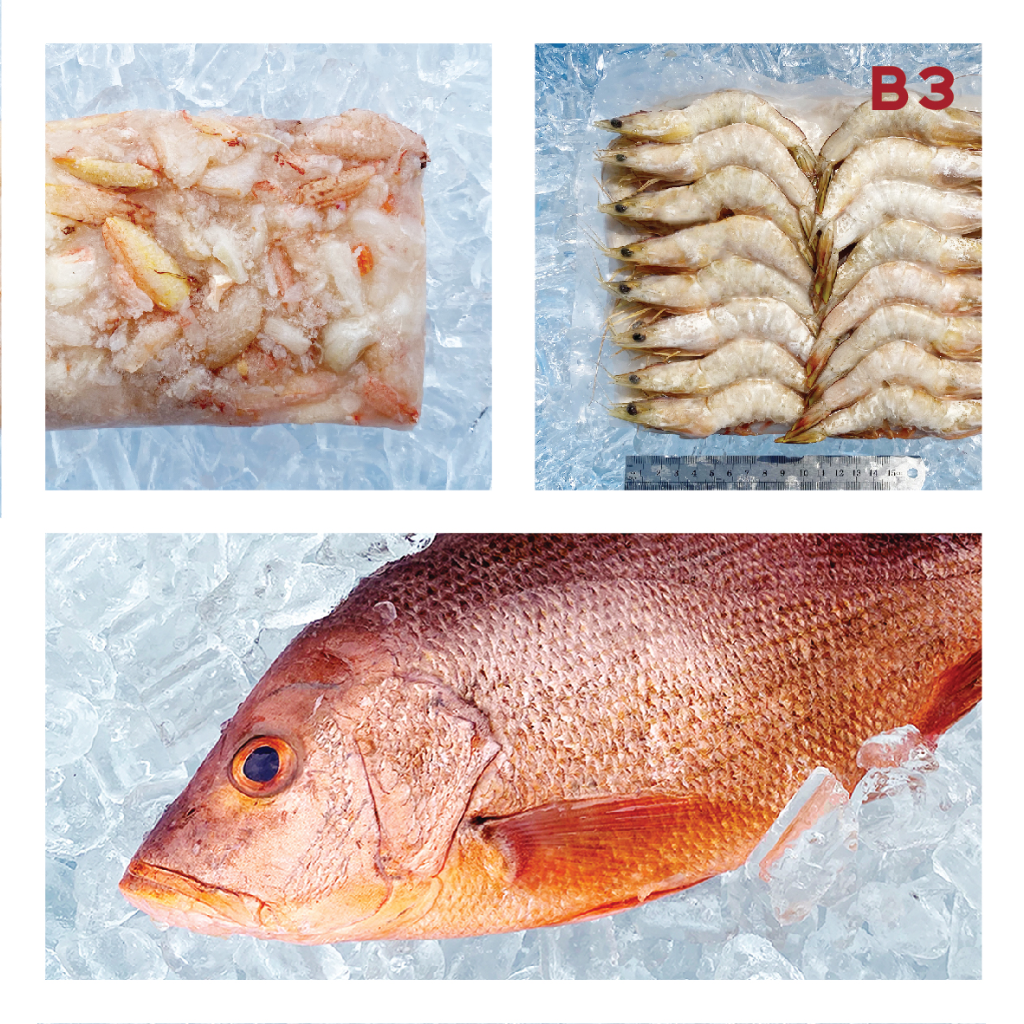 B3 CRAB MEAT 蟹肉 ±400g, 51/60 SEA SHRIMP 海虾 ±700g, RED SNAPPER 红鱼 ±700g