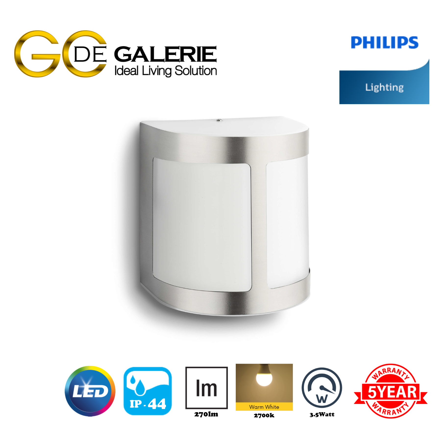 WALL LIGHT OUTDOOR LED PHILIPS 17300 MYGARDEN PARROT INOX 1x3.5W
