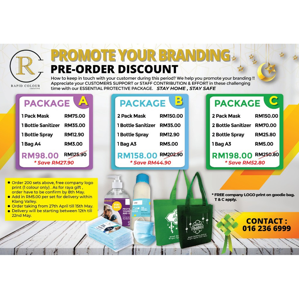 Epidemic prevention Essential Gift Set for HARI RAYA (SET C mask , sanitizer , disinfectant spray)