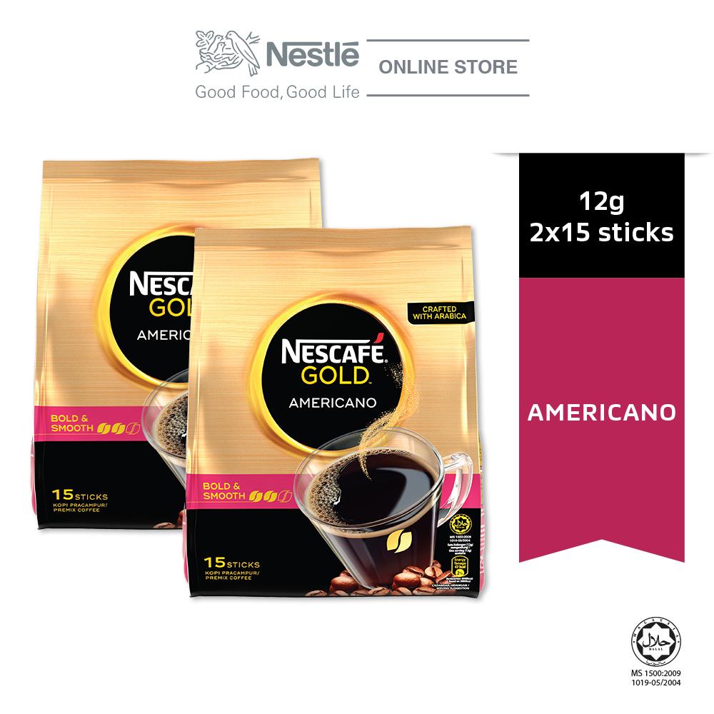 Nescafe Gold Americano 15 Sticks 12g Bundle of 2