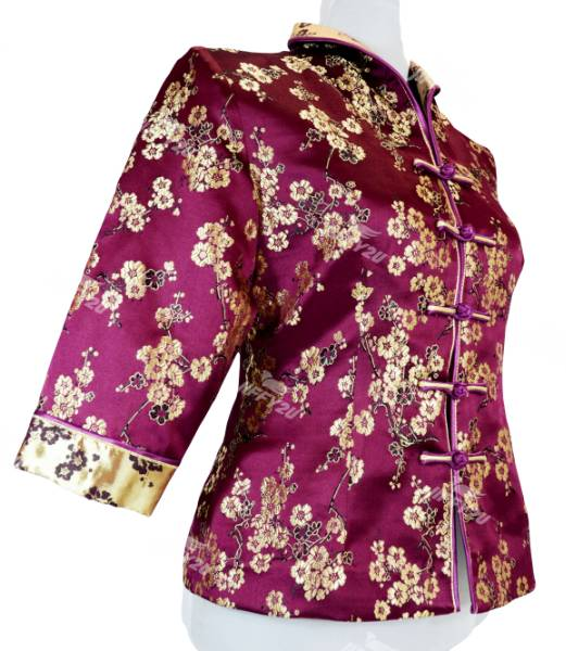 Tyrian Purple Cheongsam Blouse with Floral Embroidery in Princess Collar