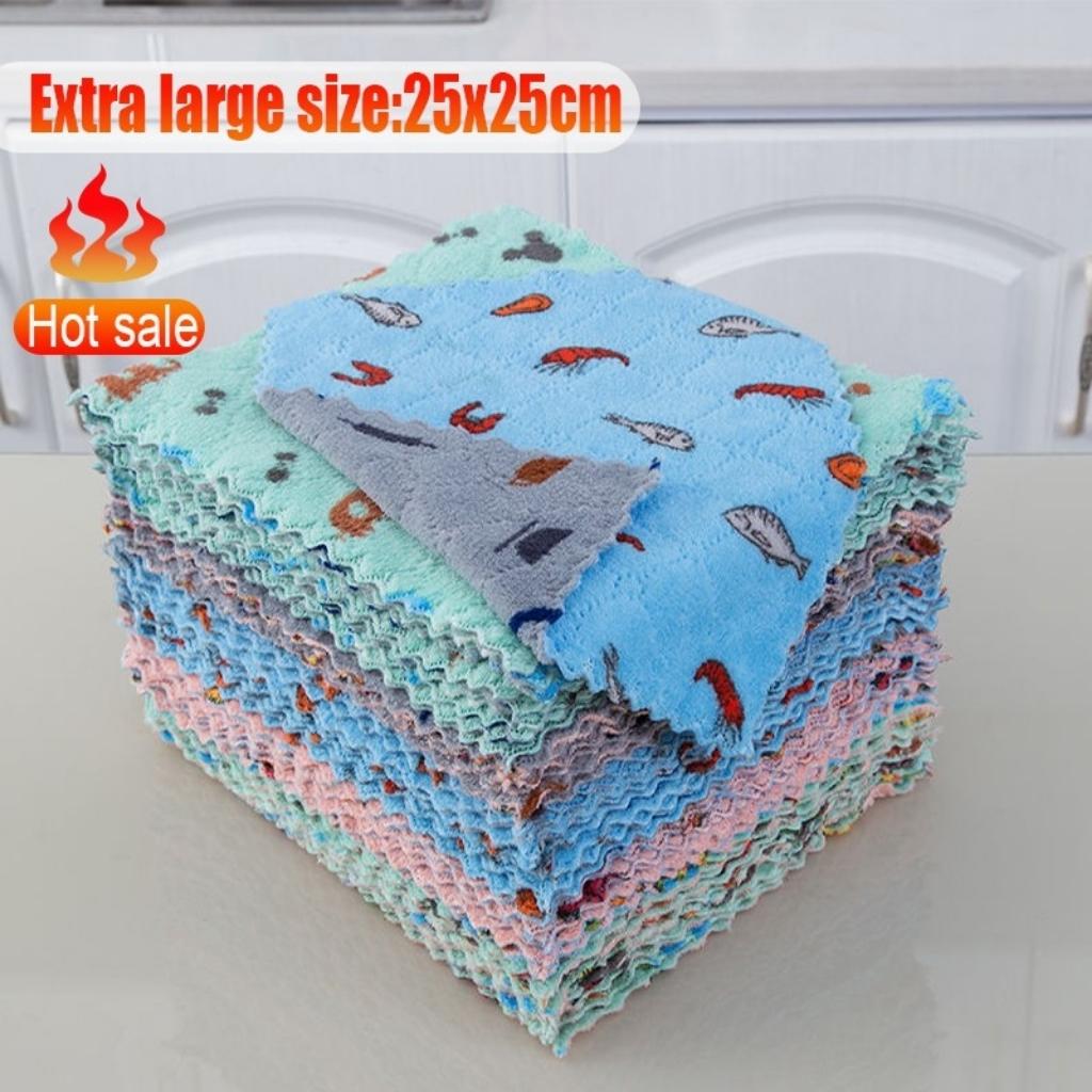 Soft Microfiber 25 x 25cm Kitchen Towel Dish Cloth Super Absorbent with Cute Design