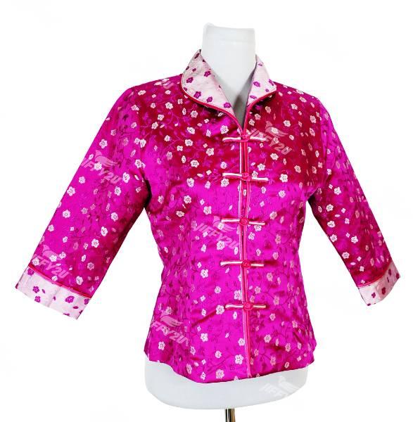 Fuschia Pink Designer Flower Brocade Cheongsam Top