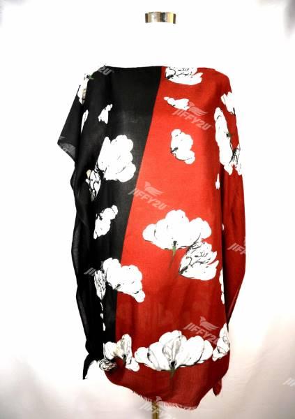 Ladies Floral Printed Red and Black Cotton Kaftan