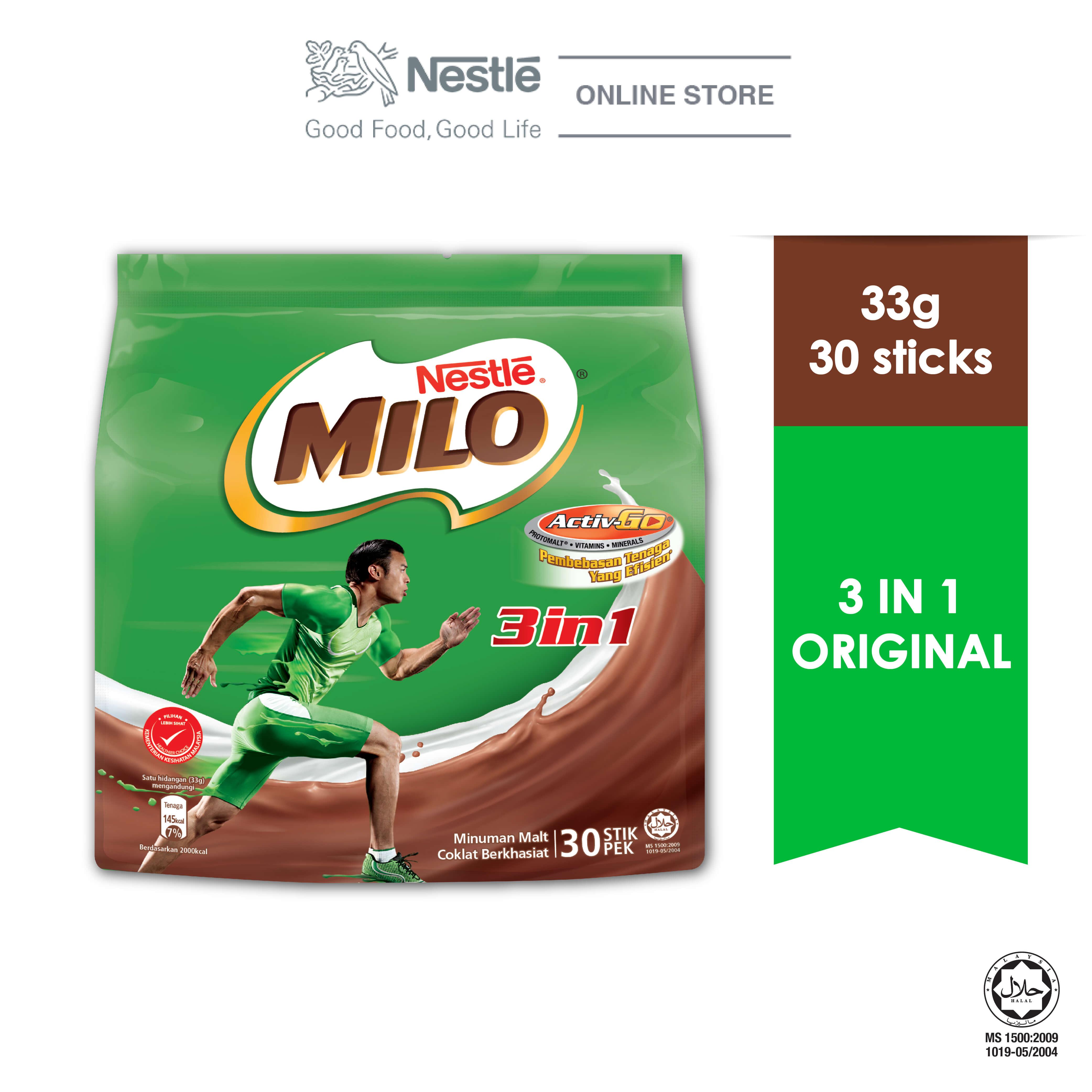NESTLE MILO 3IN1 ACTIV-GO CHOCOLATE MALT POWDER 30 Sticks 33g
