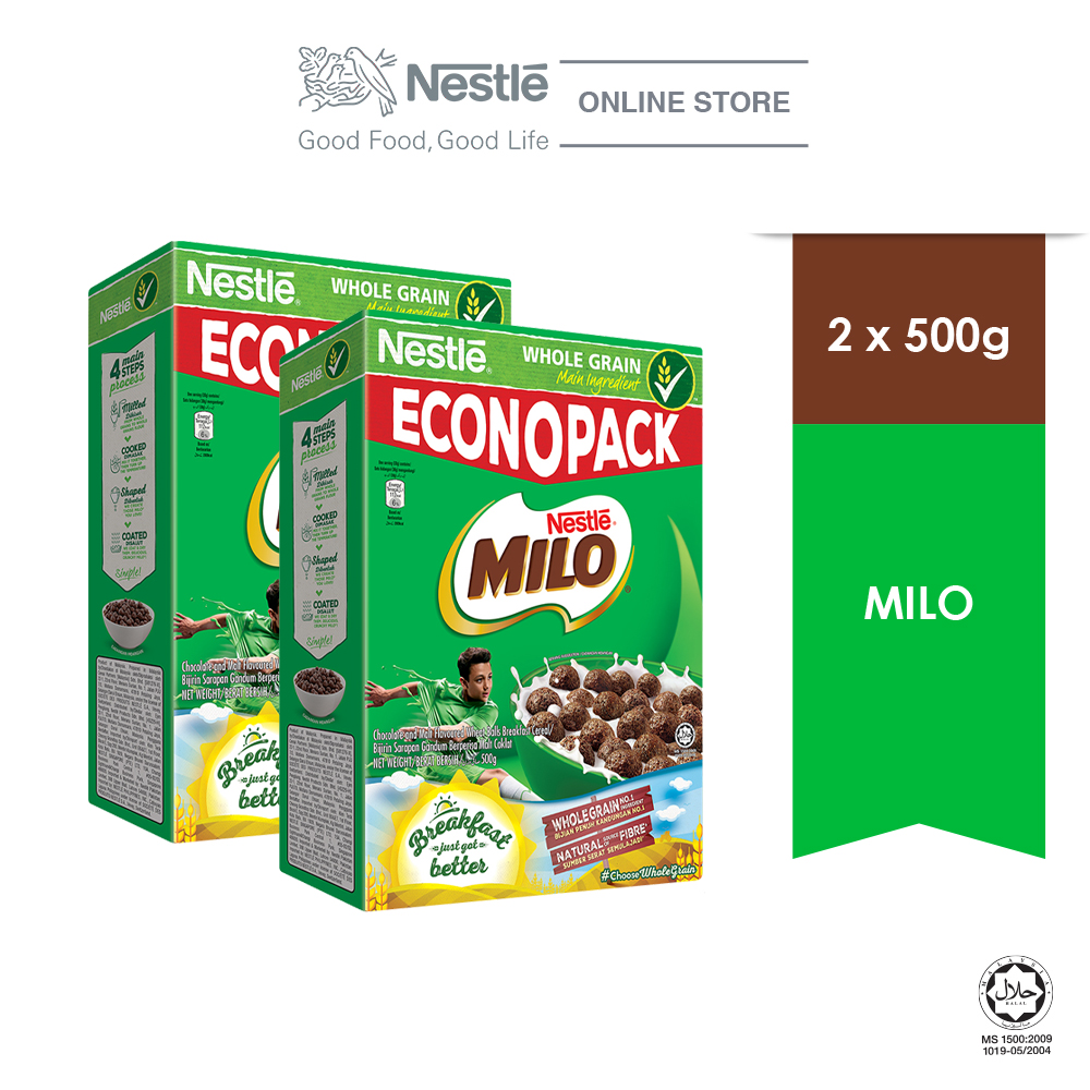NESTLE MILO Breakfast Cereal Econopack (500g x 2 boxes)