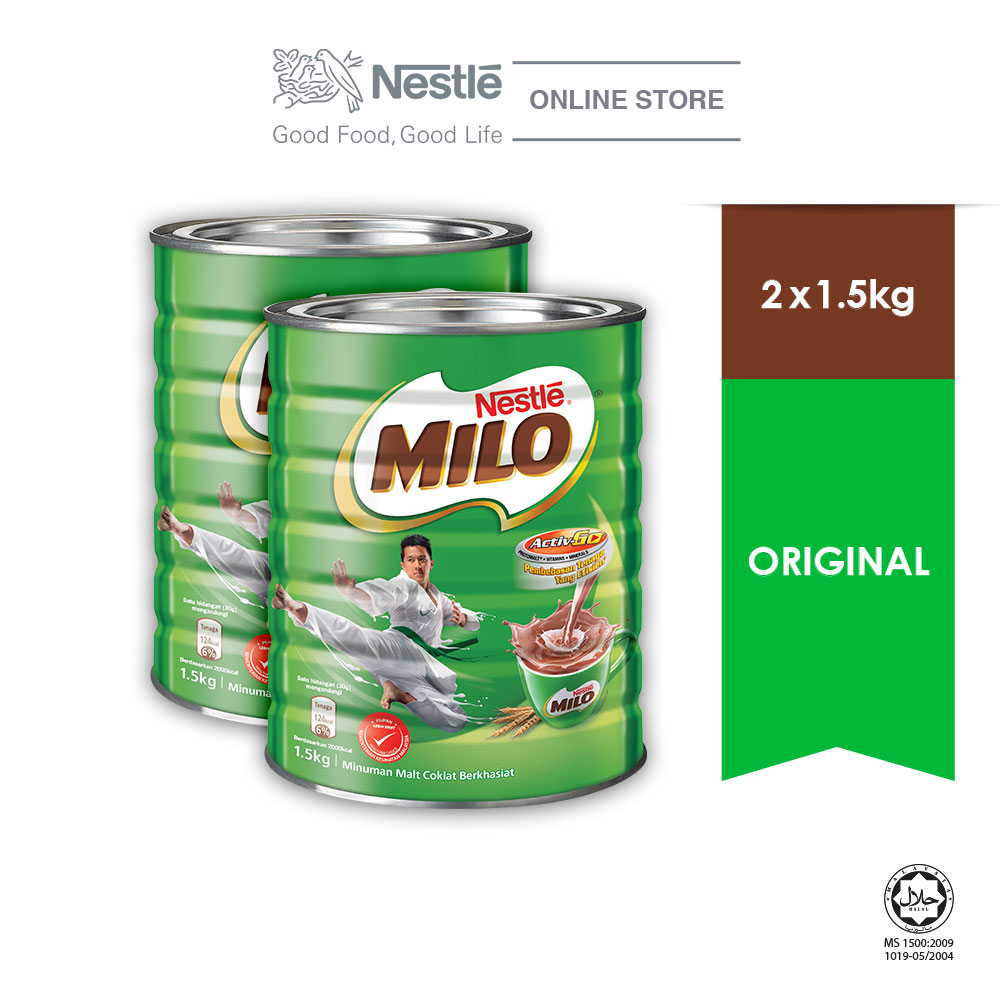 NESTLÉ MILO ACTIV-GO CHOCOLATE MALT POWDER Tin 1.5kg , Bundle of 2