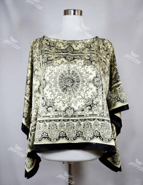 Yellow Floral Print Satin Kaftan Top with Black Lining