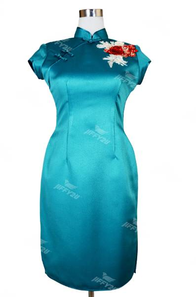 Teal Designer Cheongsam with Scarlet Red Floral Patchwork and Beads
