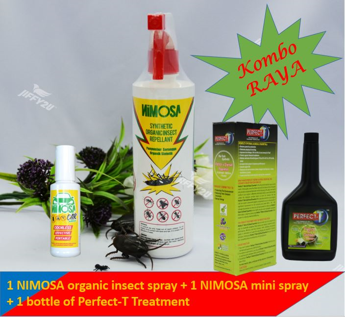 [Kombo Raya] 1 NIMOSA INSECT SPRAY + 1 NIMOSA MINI SPRAY + 1 PERFECT-T PETROL & DIESEL ESSENTIAL